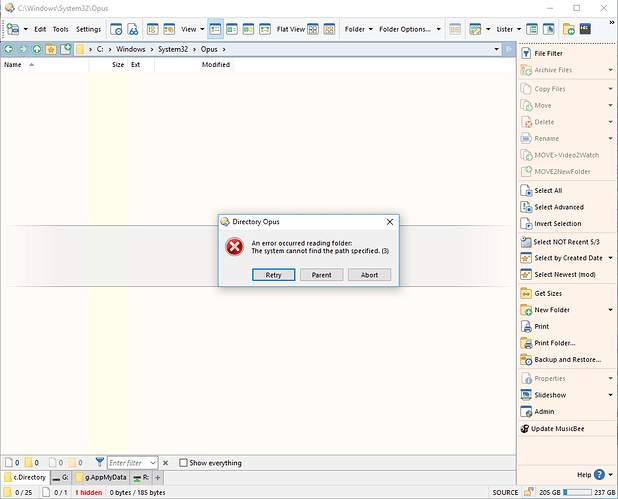 System cannot find the specified path - Help & Support