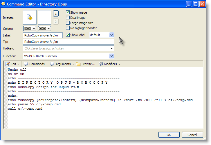 Robocopy Scripts for Directory Opus - Buttons/Scripts