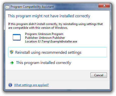Windows Compatibility Settings / Installer says XP SP3 is