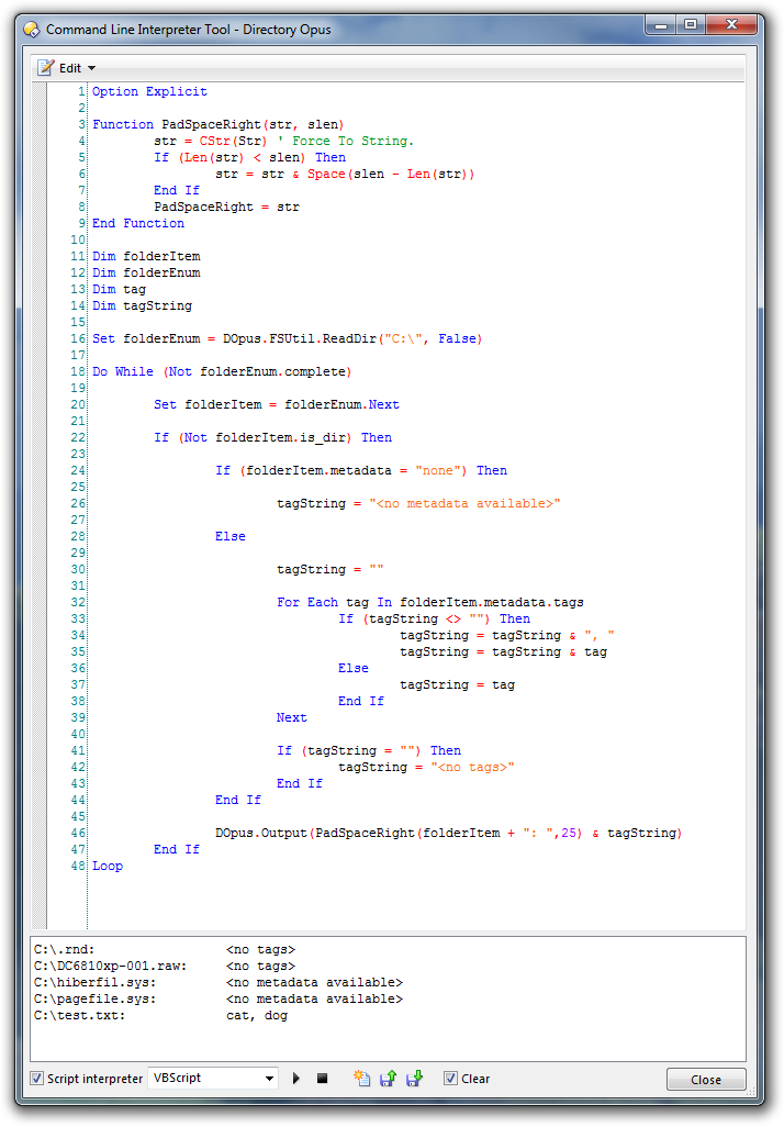 Scripts (JS & VBS) Snippet: Enumerating files and metadata tags