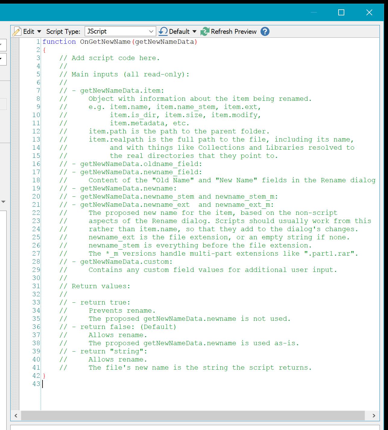 Rename scripts in JScript, VBScript and PerlScript - Rename Presets