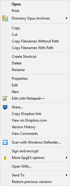 context menu for rtf