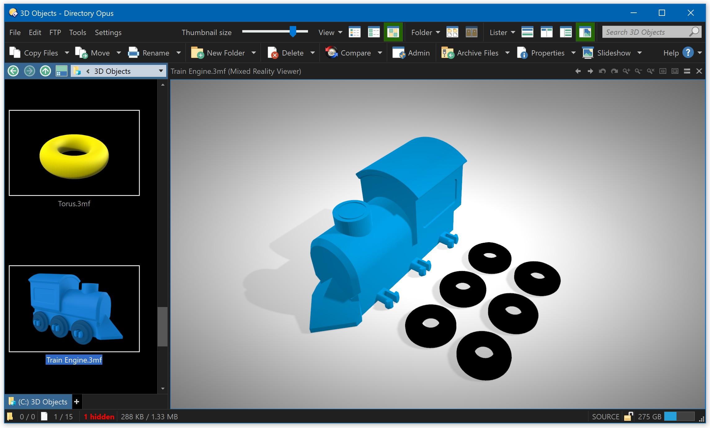 3D Object preview (3mf, fbx, glb, gltf, obj, ply, stl