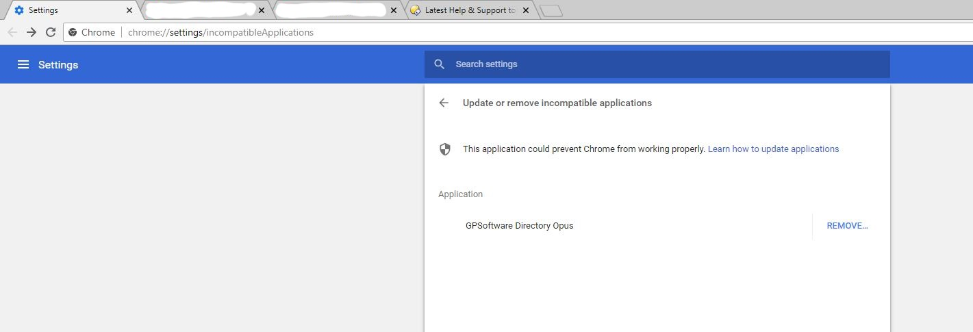 Chrome reports: Directory Opus -> This application could prevent