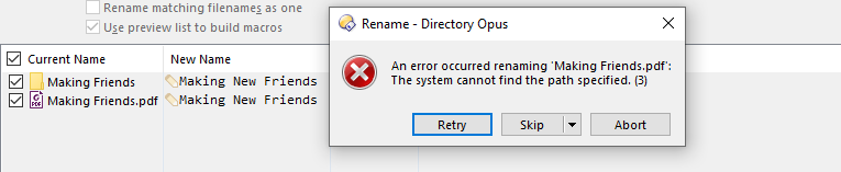 Directory New Name Error