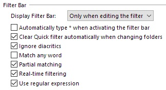 Filter Bar Settings