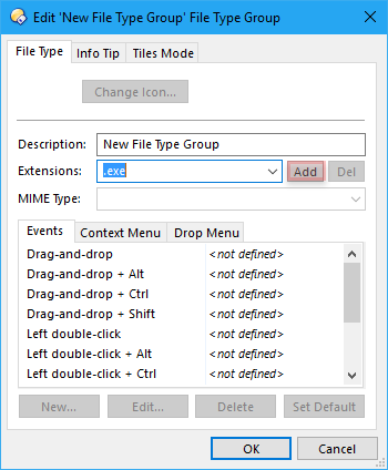 Enter key to insert new file types in the File Types dialog