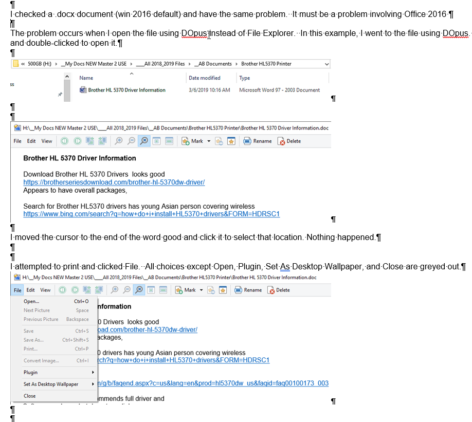 Problems using DOpus with Office 365 and 97-2003 documents